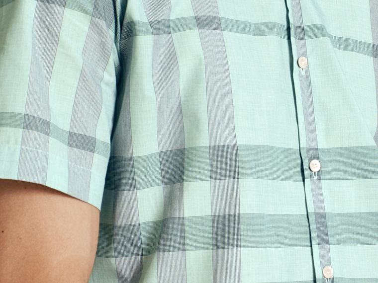 Eucalyptus green Short-sleeved Check Cotton Shirt Eucalyptus Green - cell image 4