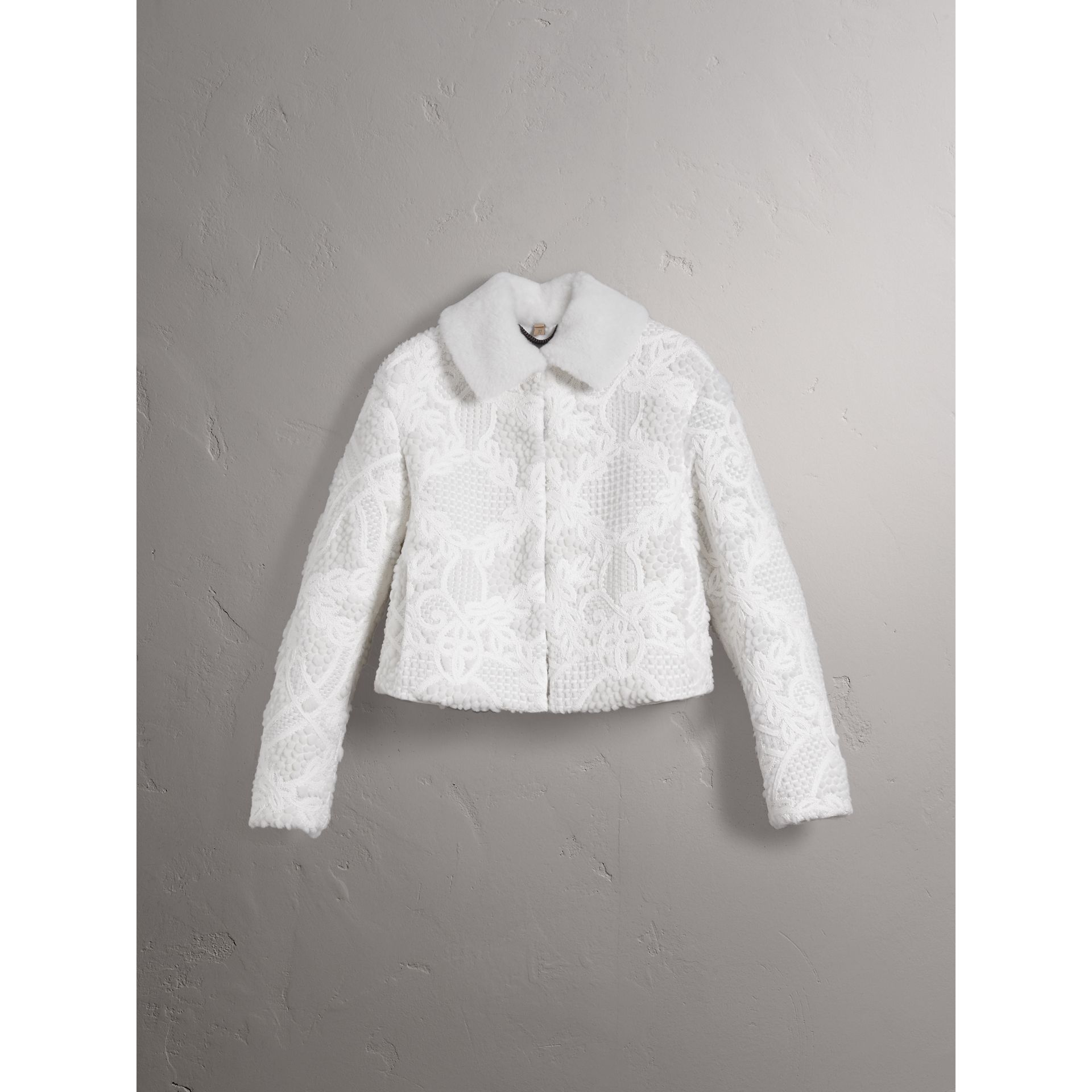 Macramé Lace-embellished Shearling Jacket in White - Women | Burberry - gallery image 3