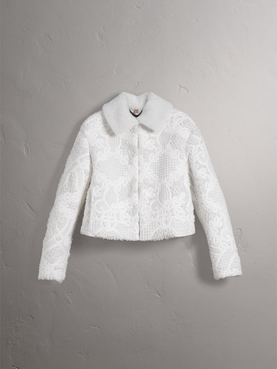 Macramé Lace-embellished Shearling Jacket in White - Women | Burberry - cell image 2