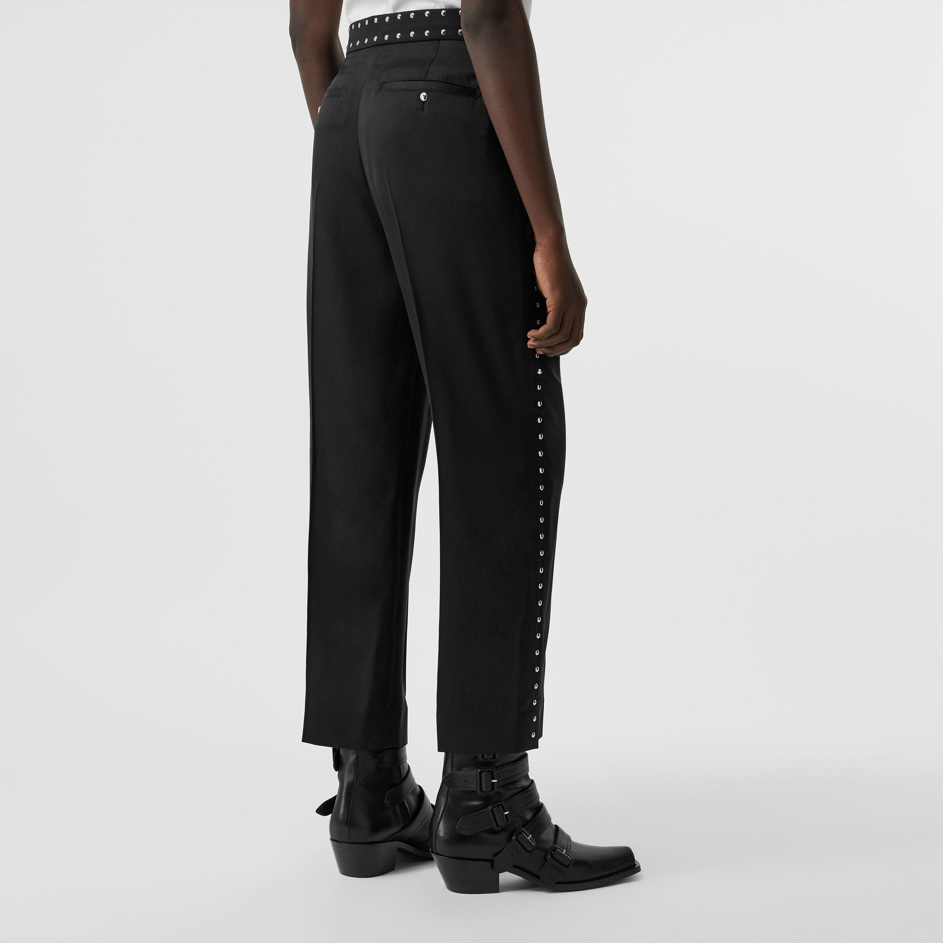 Studded Silk Satin Tailored Trousers in Black - Women | Burberry Australia - gallery image 2