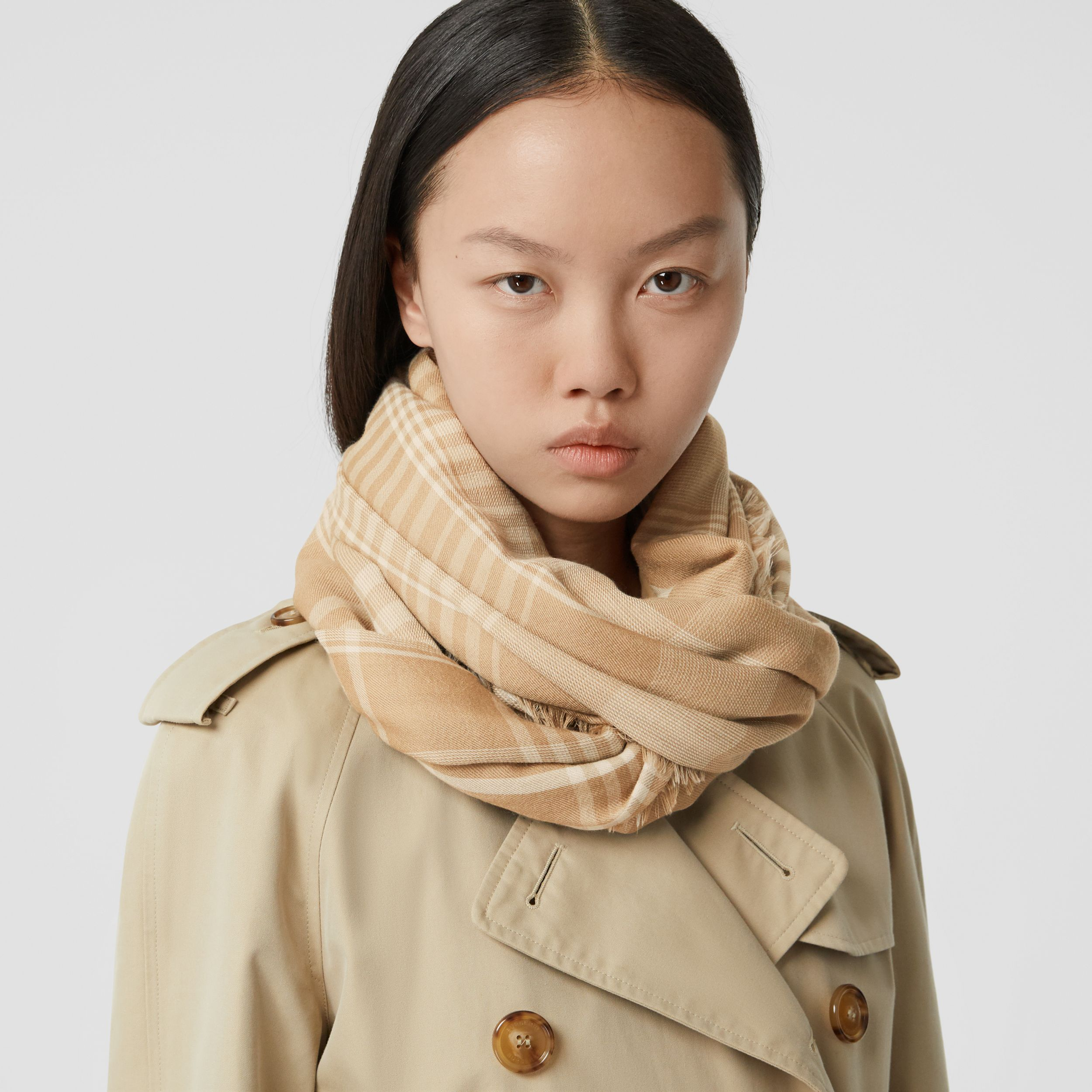 Logo Embroidered Lightweight Check Cashmere Scarf in Archive Beige/white | Burberry Hong Kong S.A.R. - 3