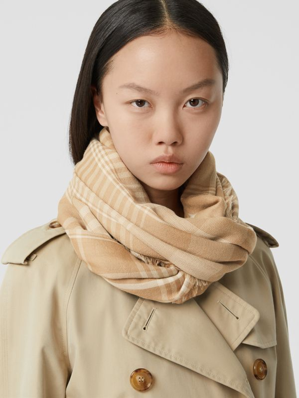 Logo Embroidered Lightweight Check Cashmere Scarf in Archive Beige/white | Burberry United Kingdom - cell image 2