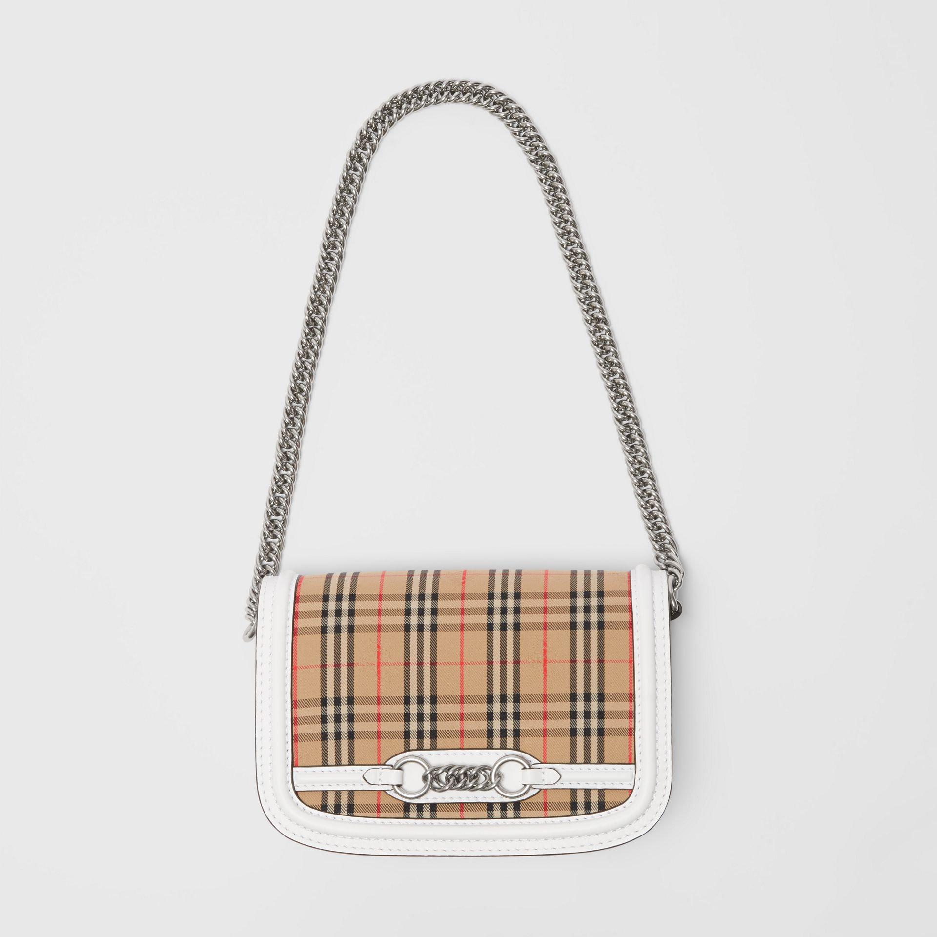 The 1983 Check Link Bag with Leather Trim in Chalk White - Women | Burberry United Kingdom - gallery image 4