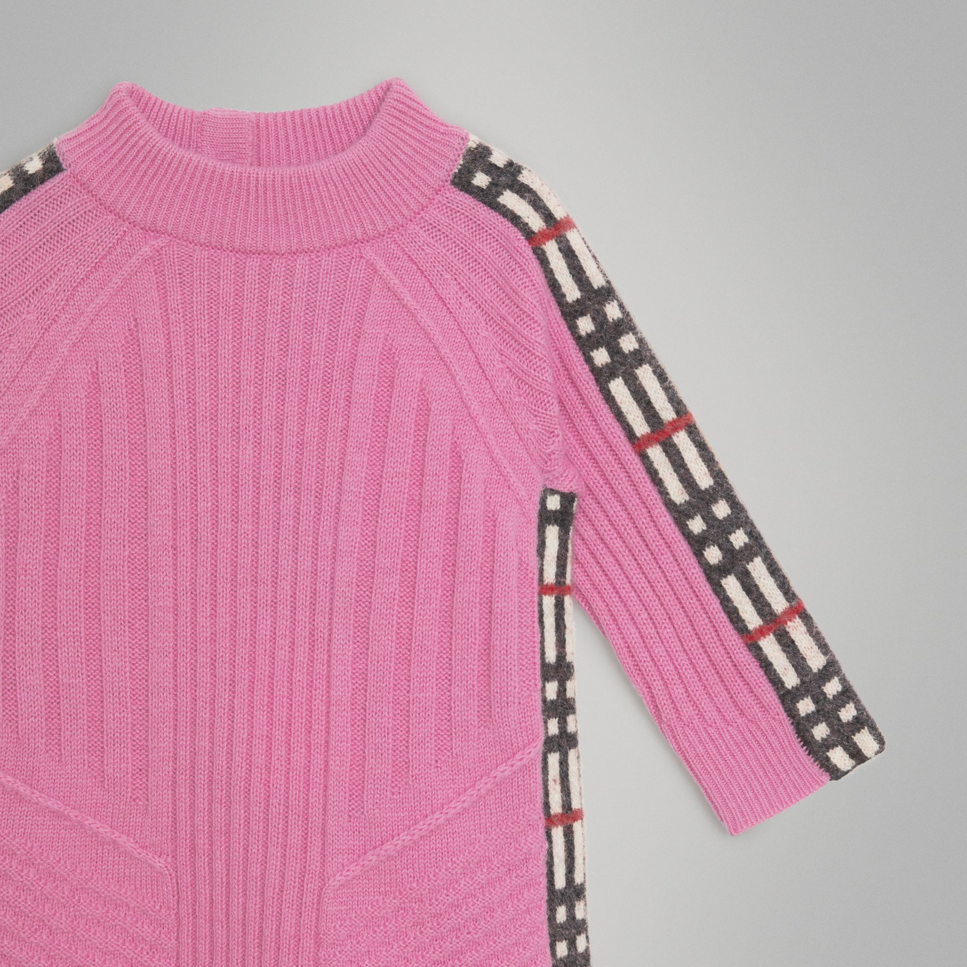 Check Detail Wool Cashmere Dress in Rose Pink - Children | Burberry - gallery image 4