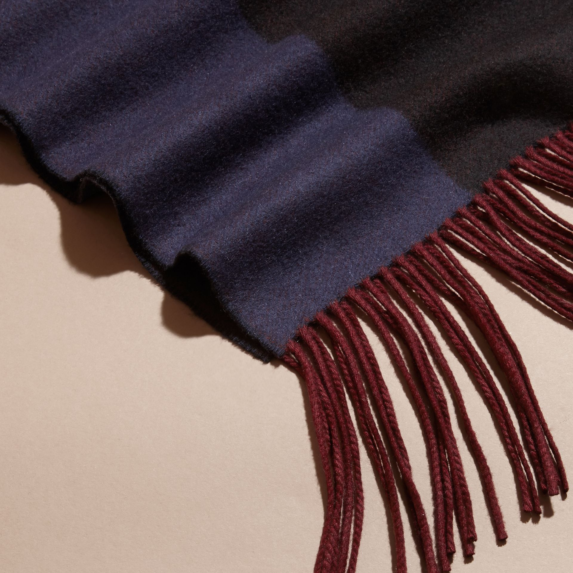 Navy Oversize Striped Cashmere Scarf Navy - gallery image 2