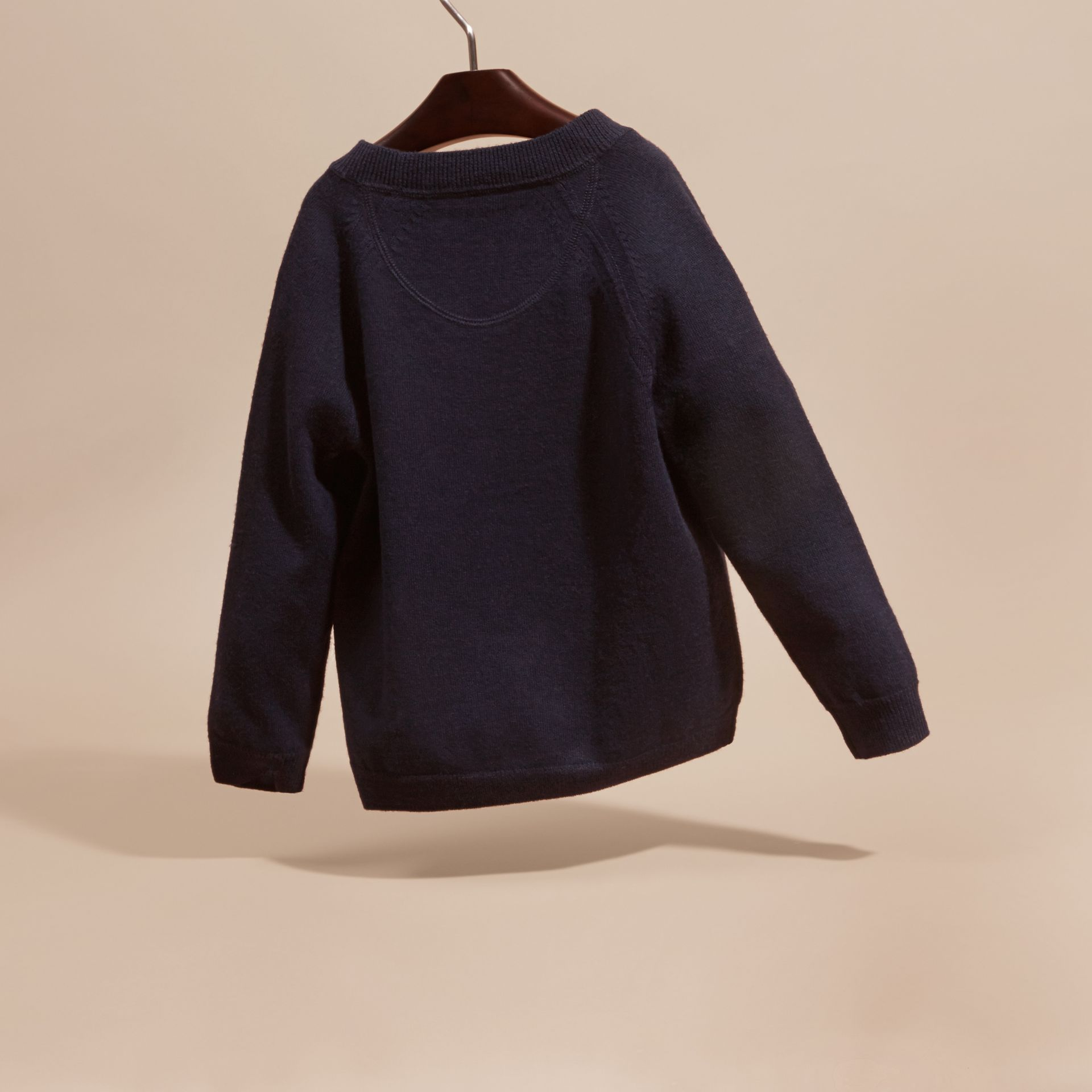 Check Detail Merino Wool Cardigan in Navy - Boy | Burberry - gallery image 4