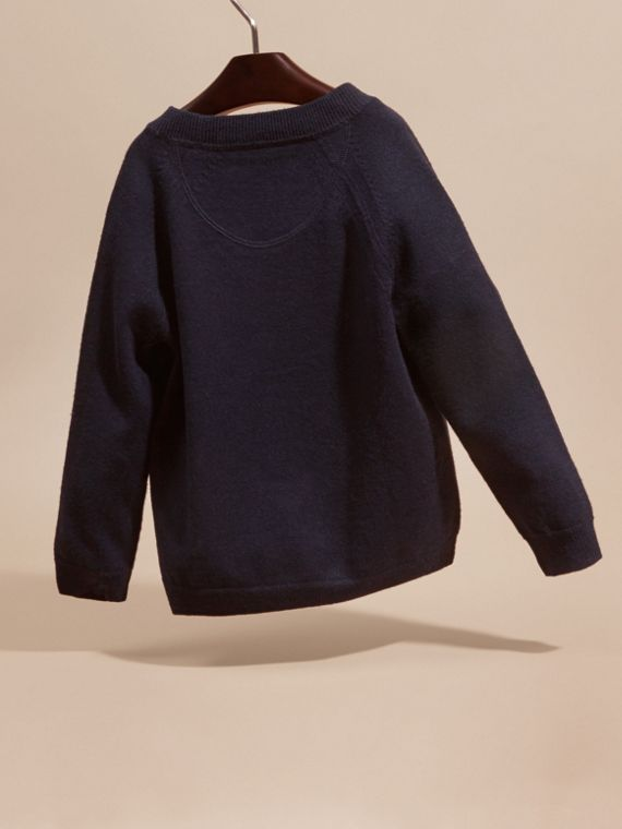 Check Detail Merino Wool Cardigan in Navy - Boy | Burberry United States - cell image 3