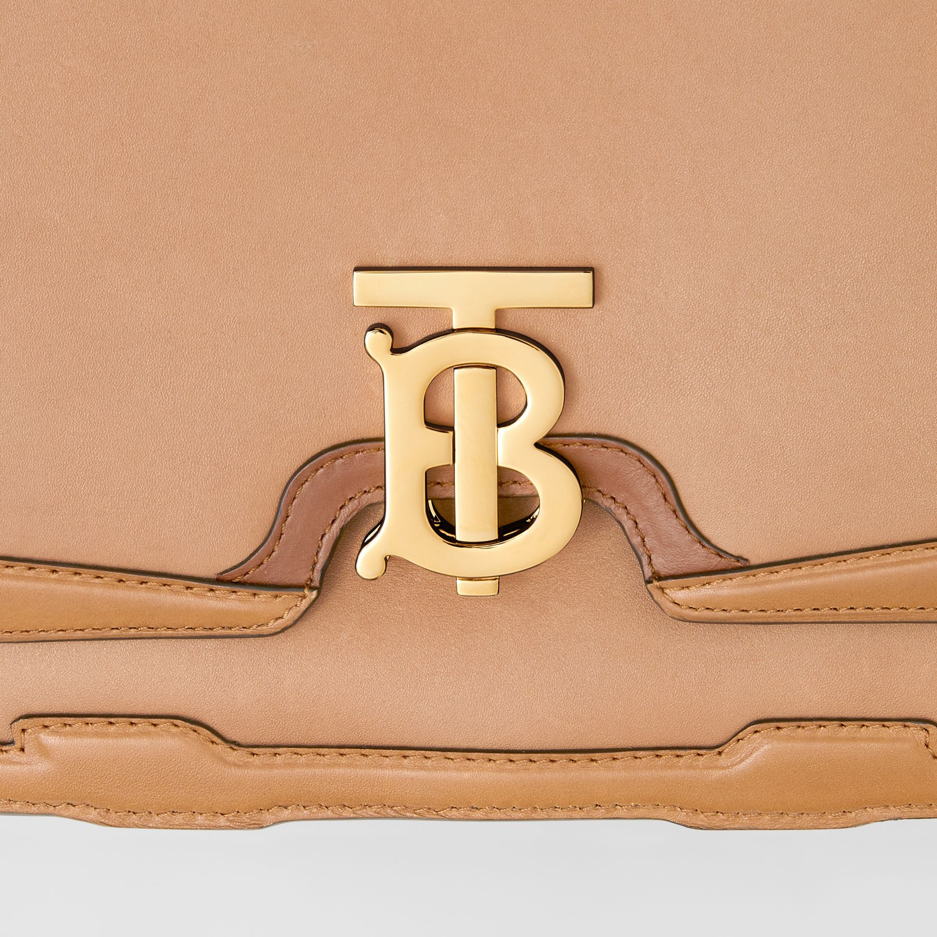 Medium Appliqué Leather TB Bag in Warm Camel - Women | Burberry - gallery image 5