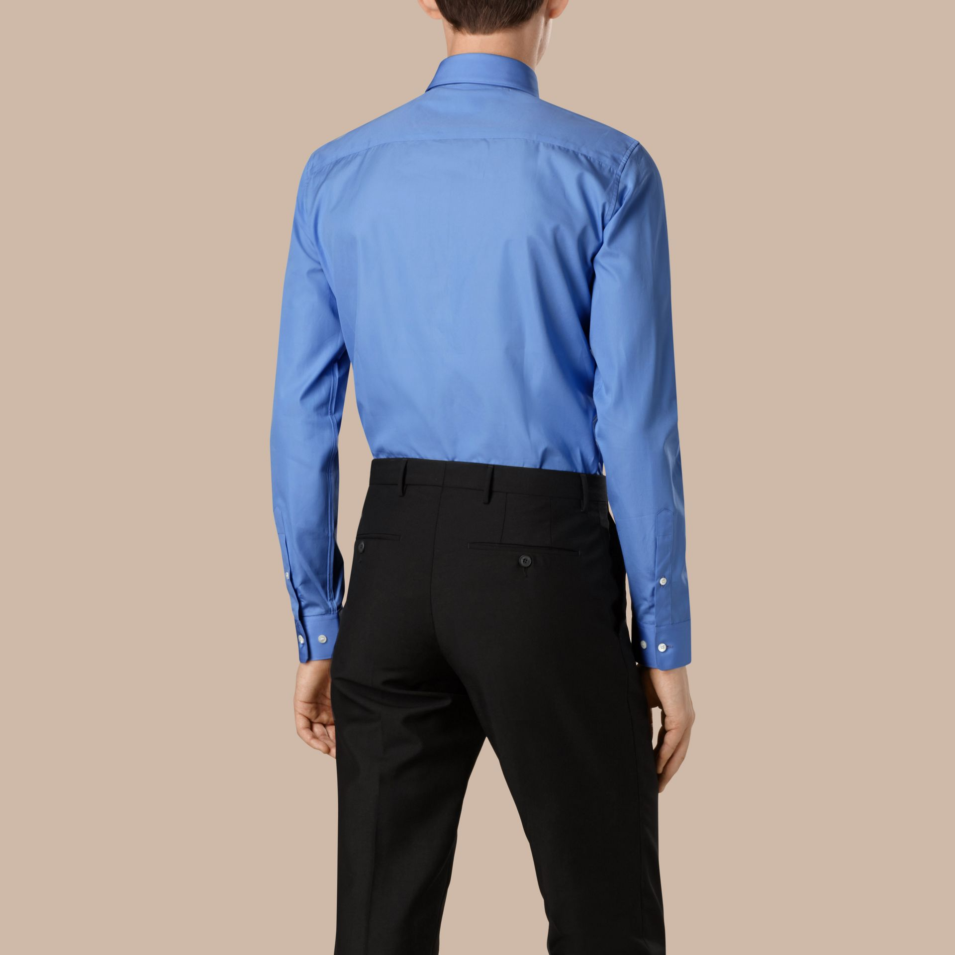 Slim Fit Cotton Poplin Shirt in Mid Blue - gallery image 3