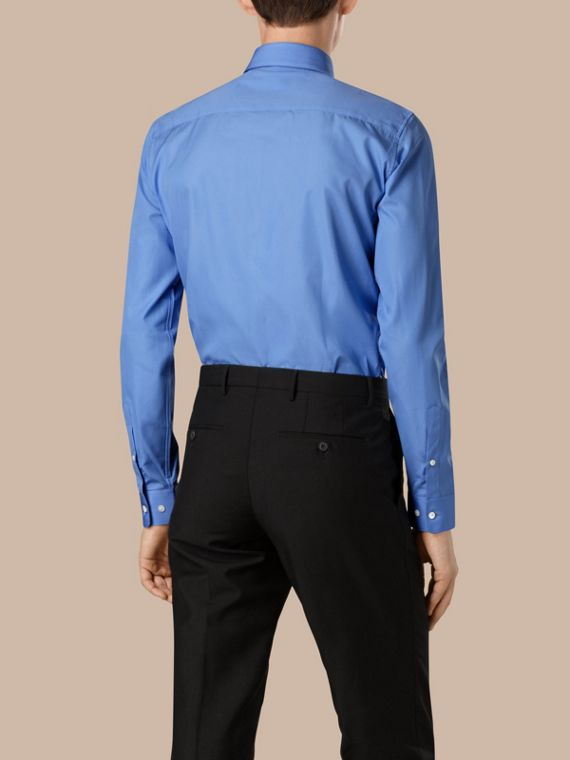 Slim Fit Cotton Poplin Shirt in Mid Blue - cell image 2