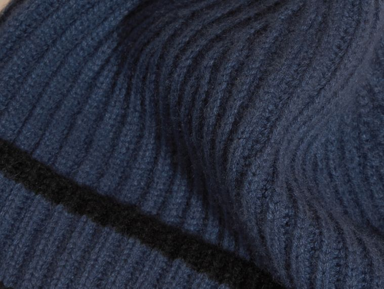 Brt navy blue/black Ribbed Cashmere Tipped Beanie - cell image 1