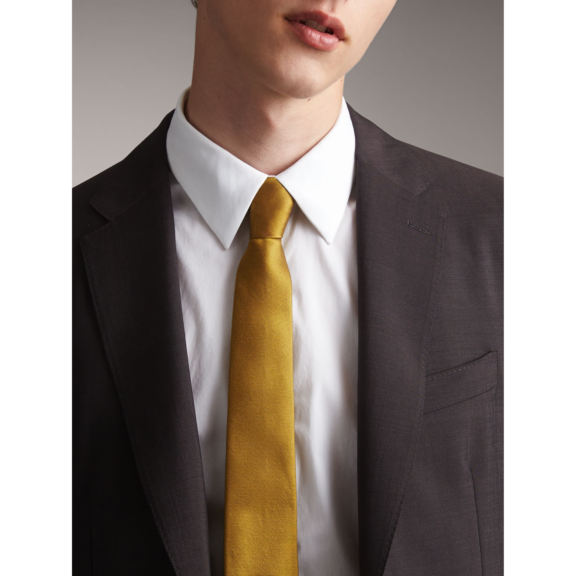 Modern Cut Check Silk Twill Jacquard Tie in Cornflower Yellow - Men | Burberry - gallery image 3
