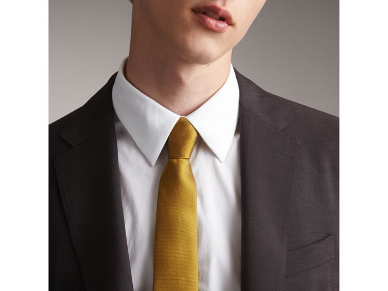 Modern Cut Check Silk Twill Jacquard Tie in Cornflower Yellow - Men | Burberry - cell image 2