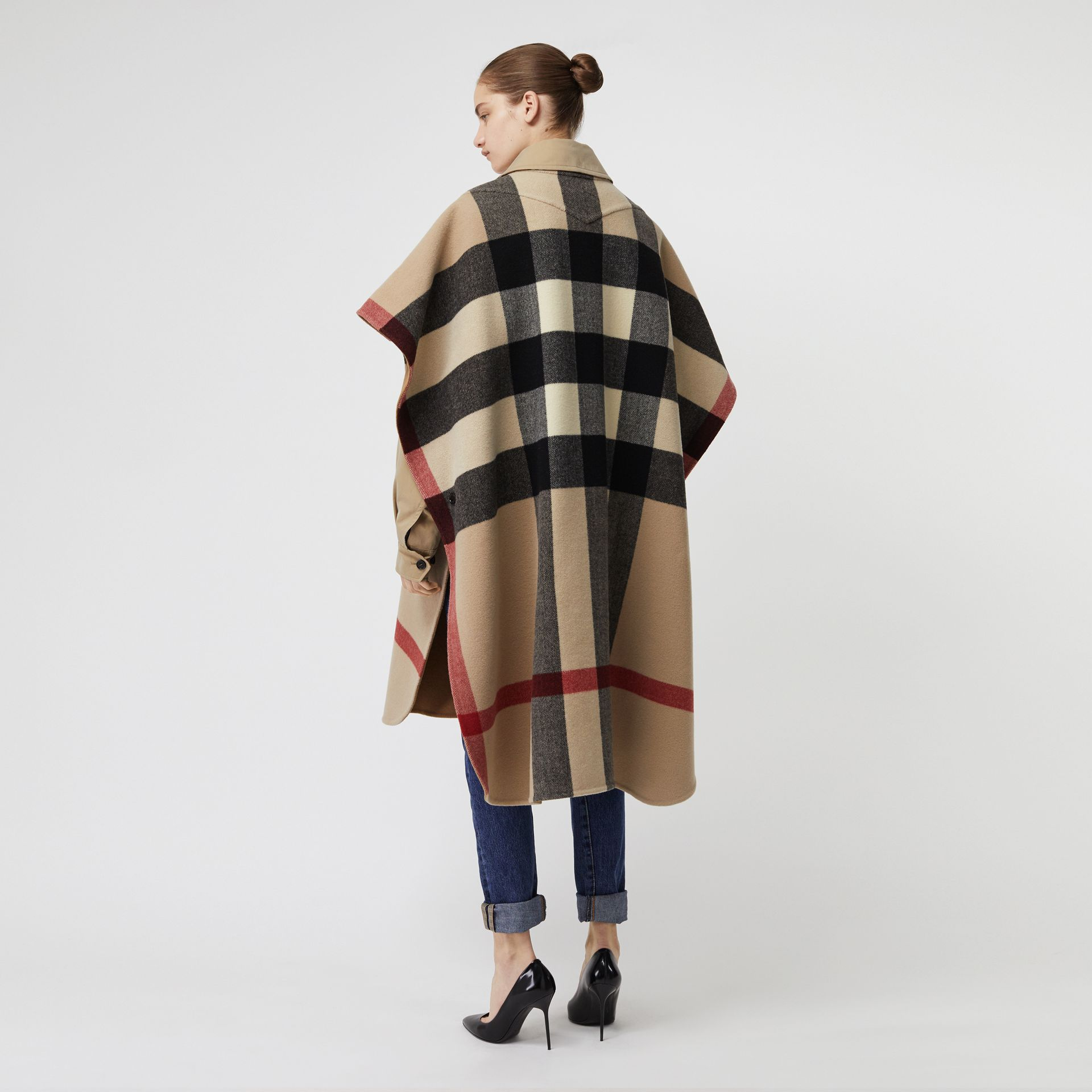 Reversible Check Wool Blend Poncho in Camel | Burberry Australia - gallery image 5