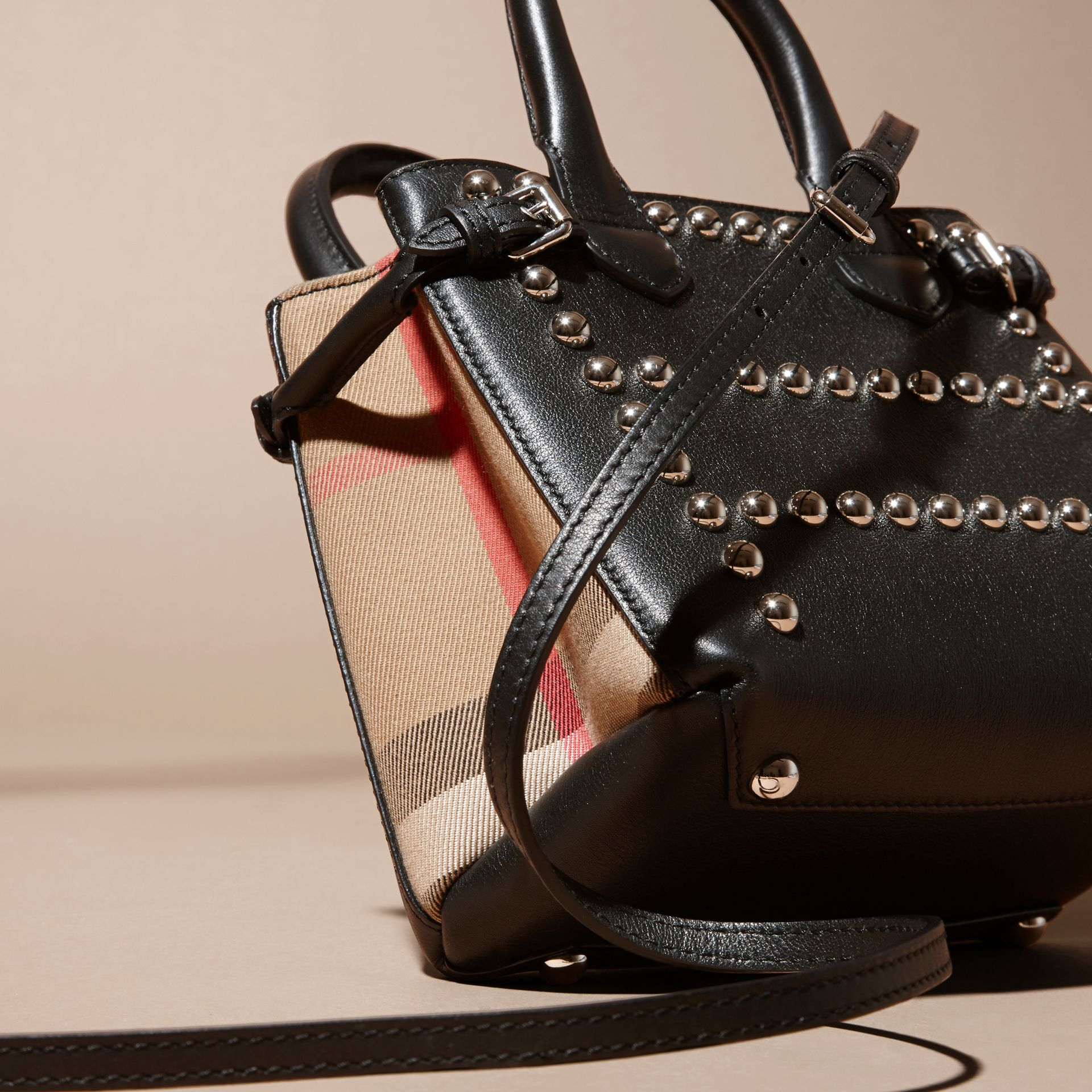 Black The Baby Banner in Studded Leather and House Check - gallery image 4