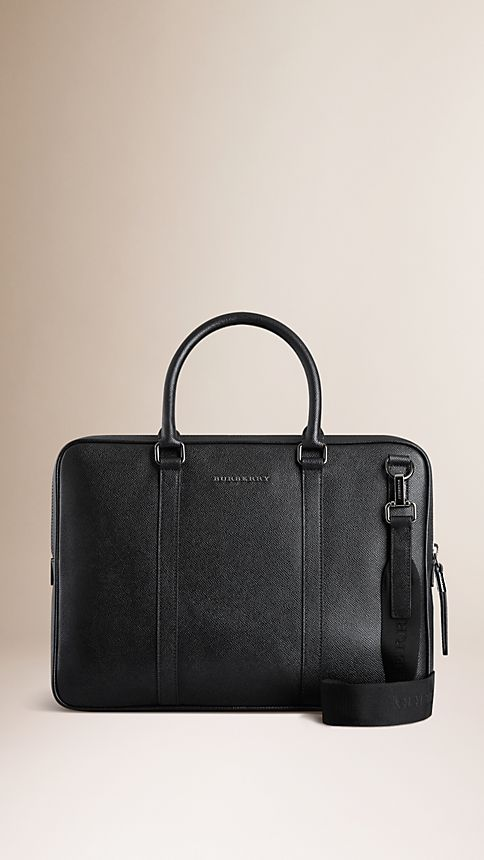Black London Leather Crossbody Briefcase - Image 1