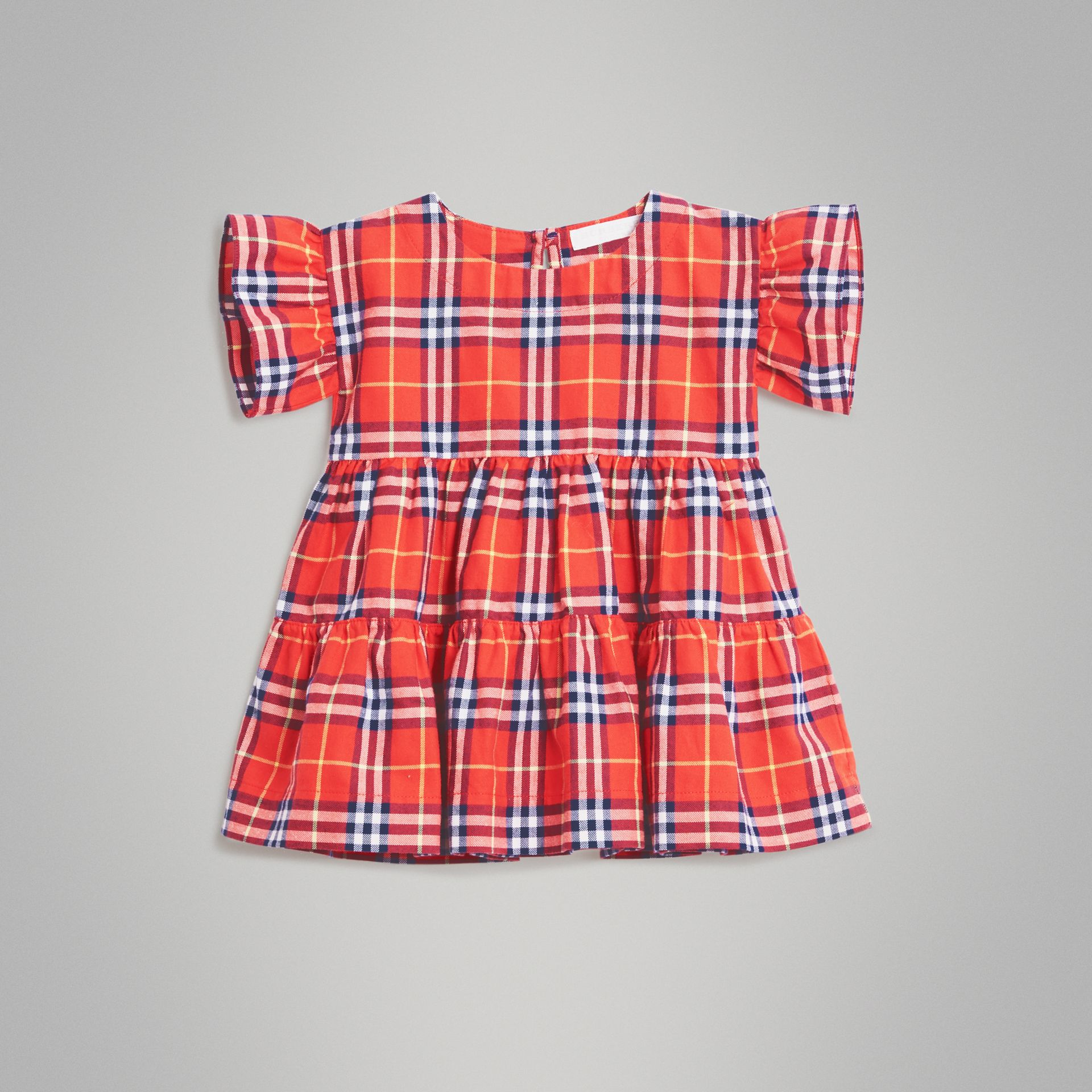 Ruffle Detail Cotton Check Dress in Orange Red - Children | Burberry - gallery image 0