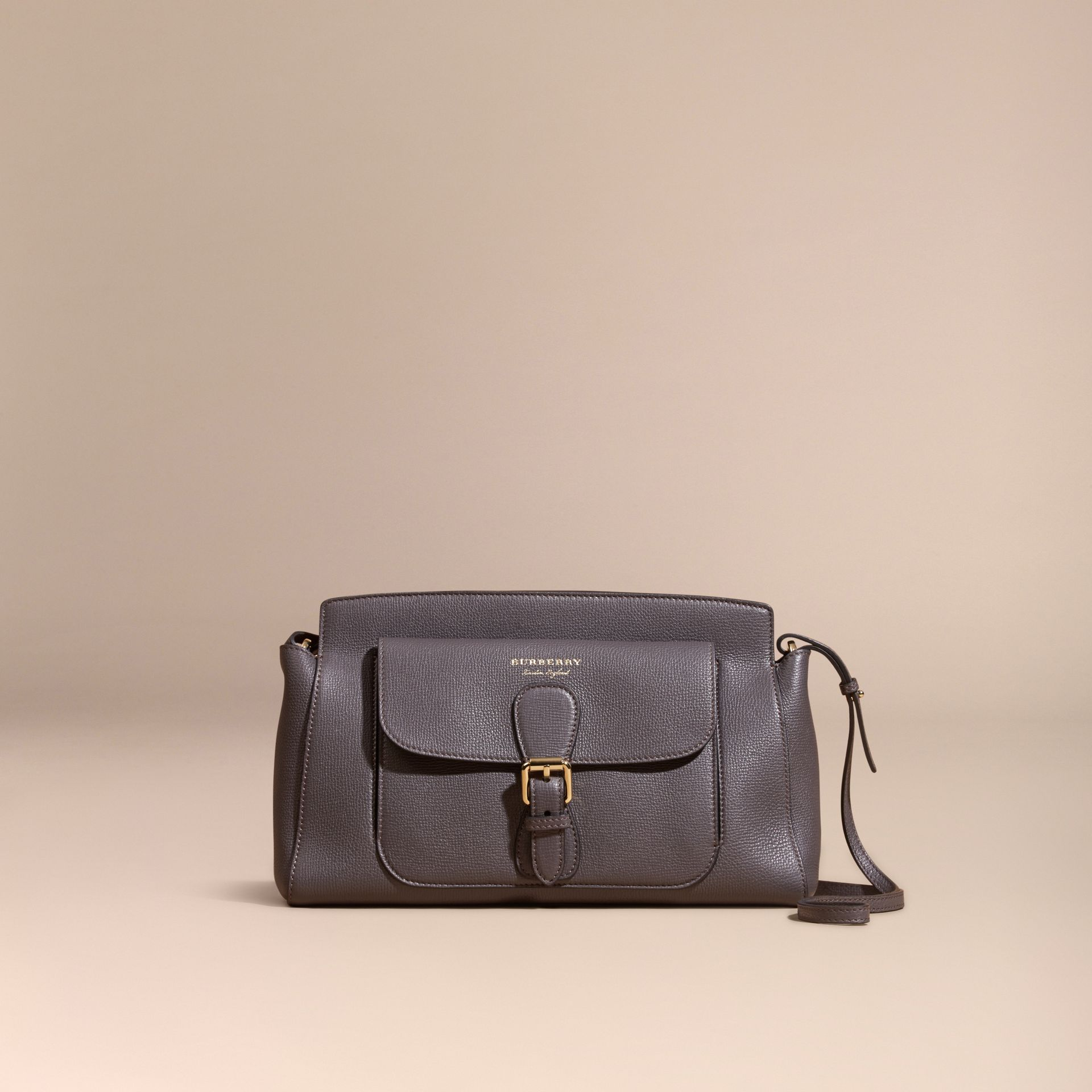 Sepia grey The Saddle Clutch in Grainy Bonded Leather Sepia Grey - gallery image 8