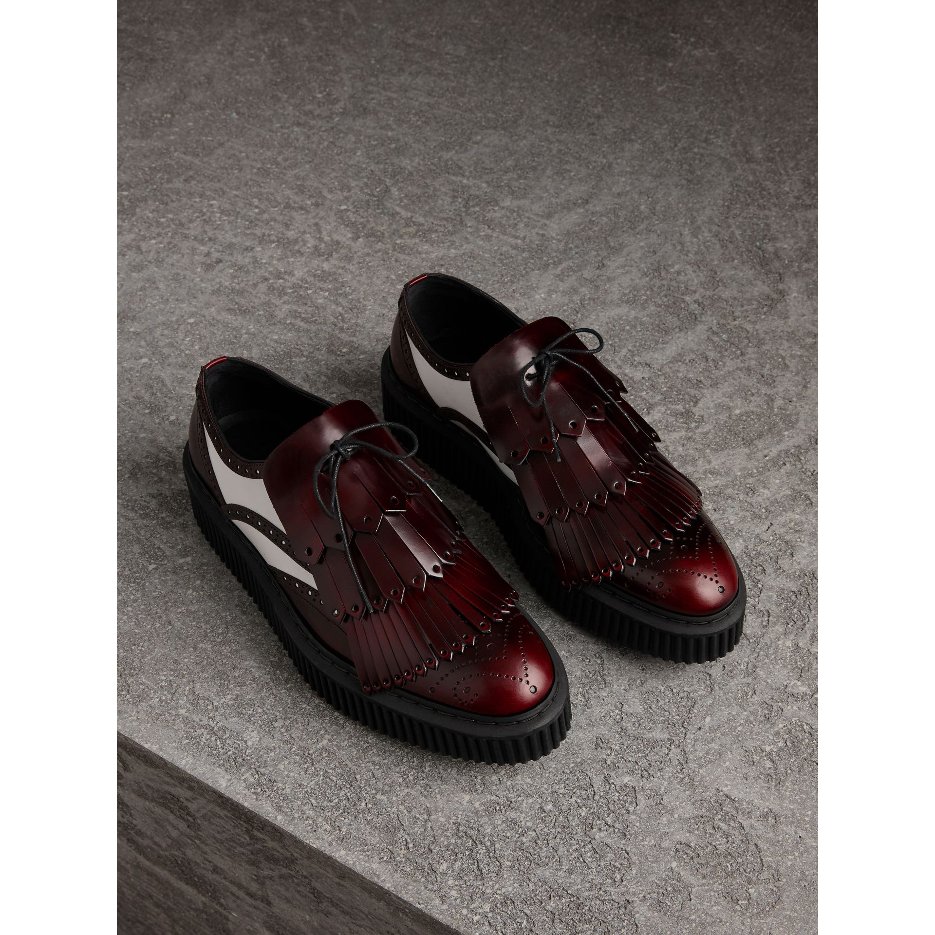 Two-tone Lace-up Kiltie Fringe Leather Shoes in Bordeaux - Women | Burberry - gallery image 0