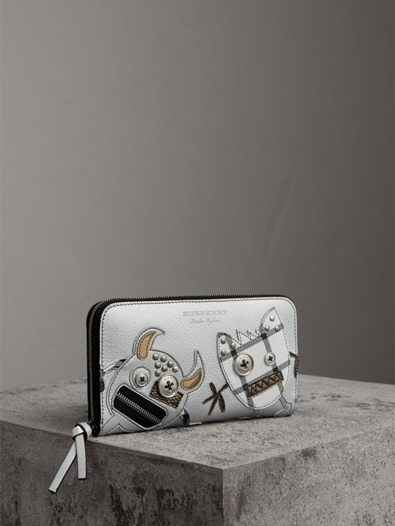 Creature Appliqué Metallic Leather Ziparound Wallet in Silver
