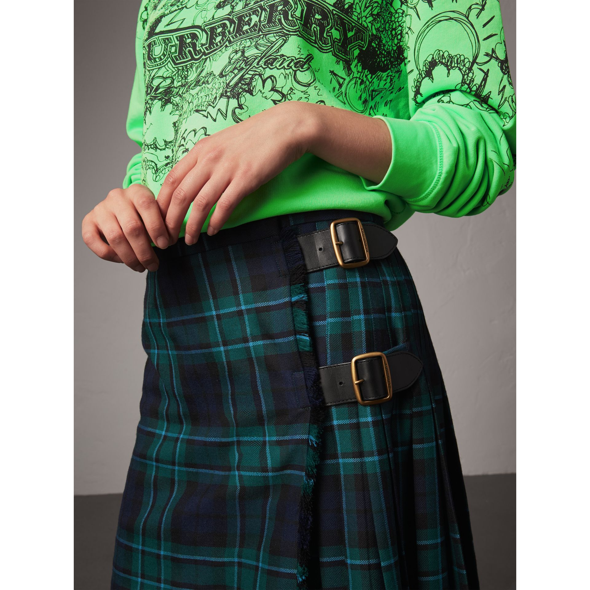 Tartan Wool Kilt in Pine Green - Women | Burberry United Kingdom - gallery image 1