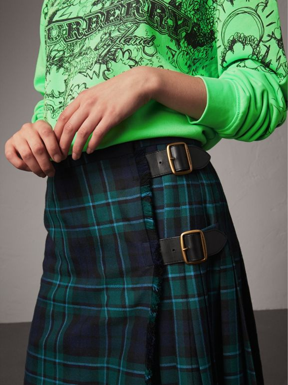 Tartan Wool Kilt in Pine Green - Women | Burberry United Kingdom - cell image 1