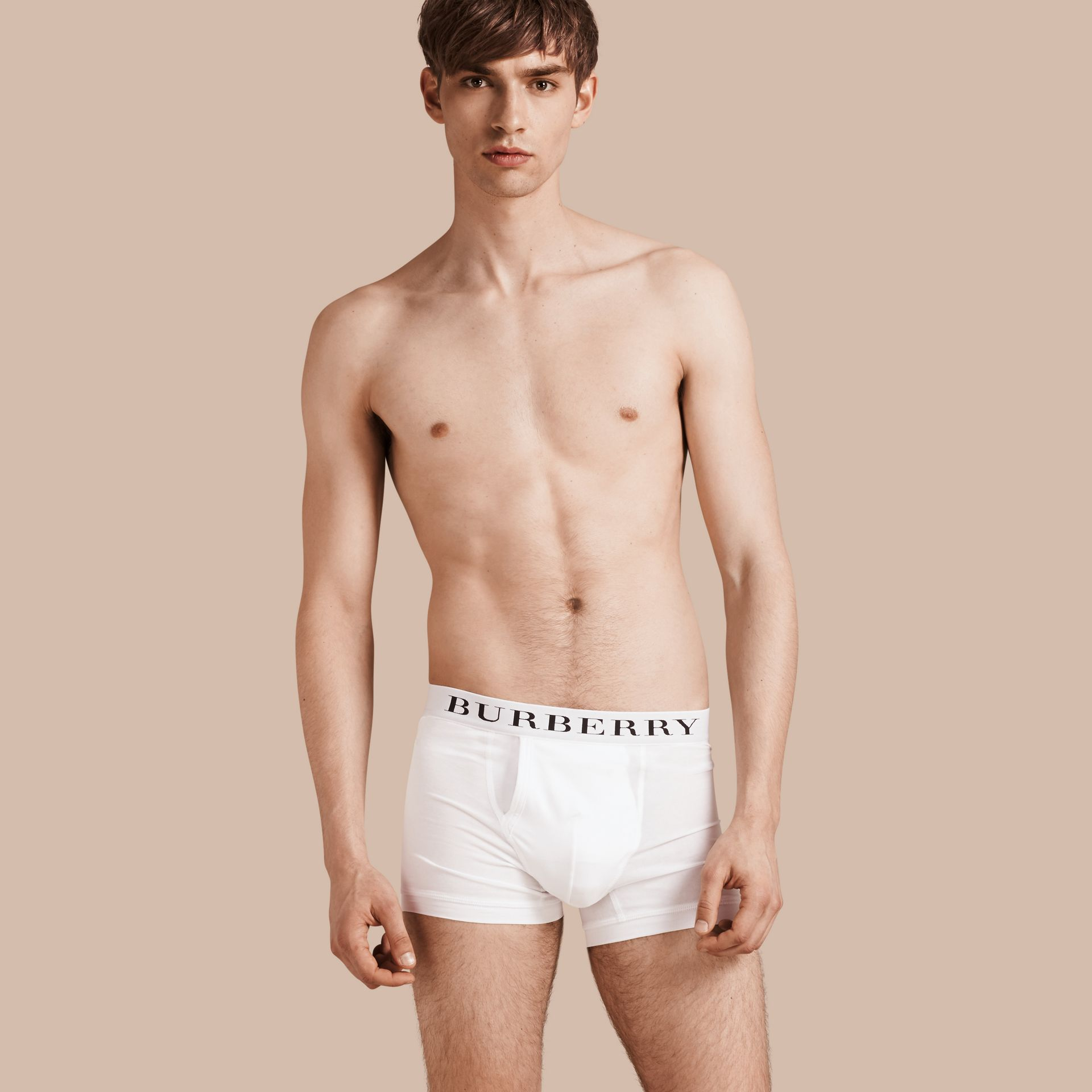 White Stretch Cotton Boxer Shorts White - gallery image 1