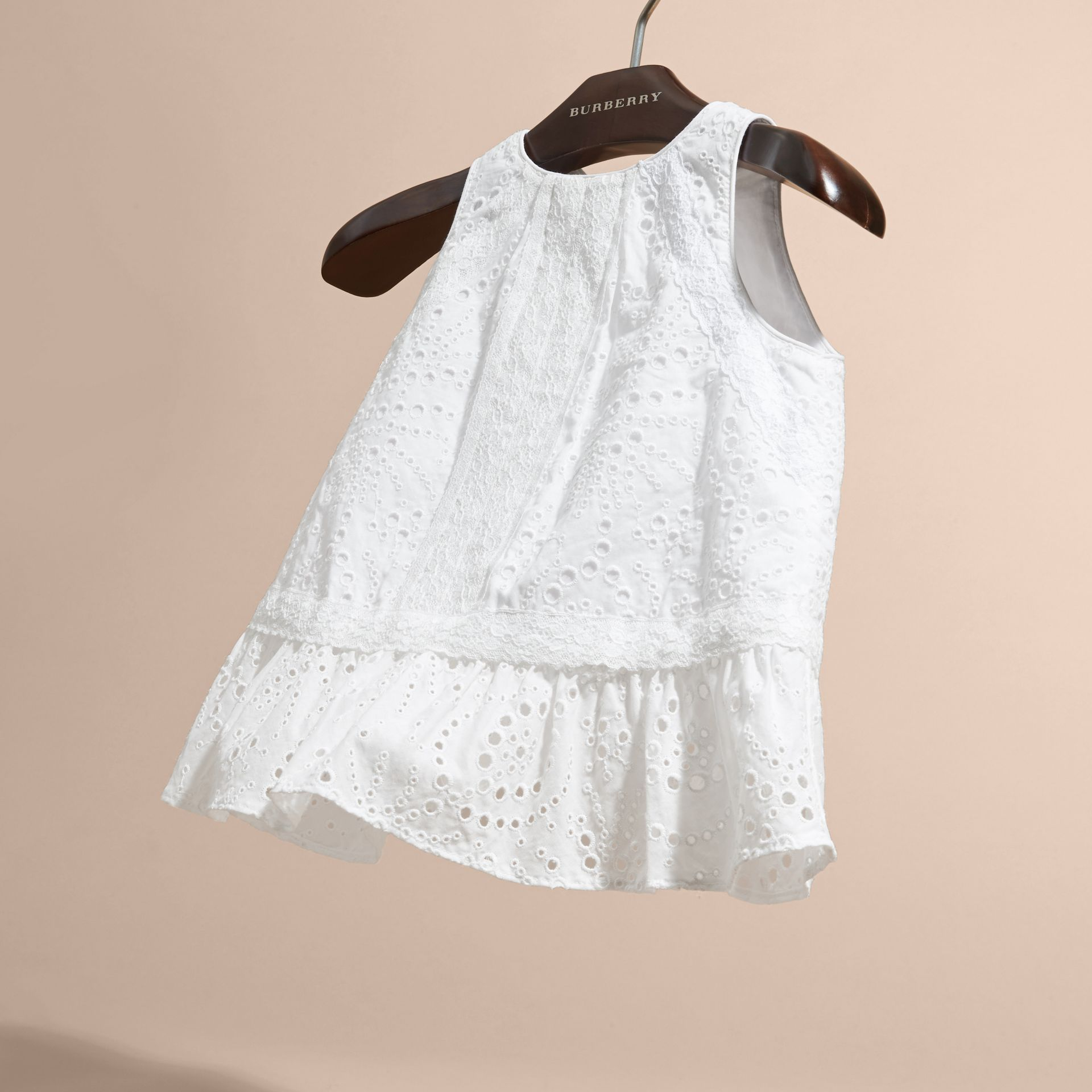 Lace Trim Sleeveless Cotton Blend Broderie Anglaise Top in White - Girl | Burberry - gallery image 3