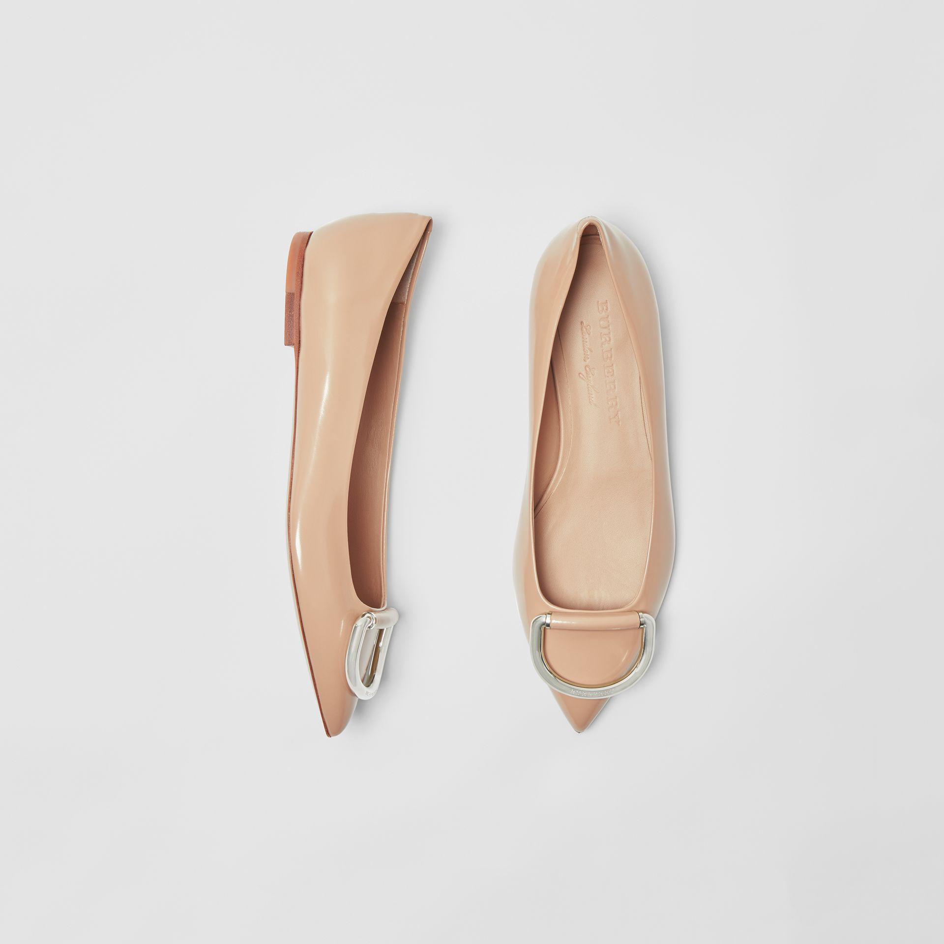 The Leather D-ring Flat in Nude Blush - Women | Burberry - gallery image 0