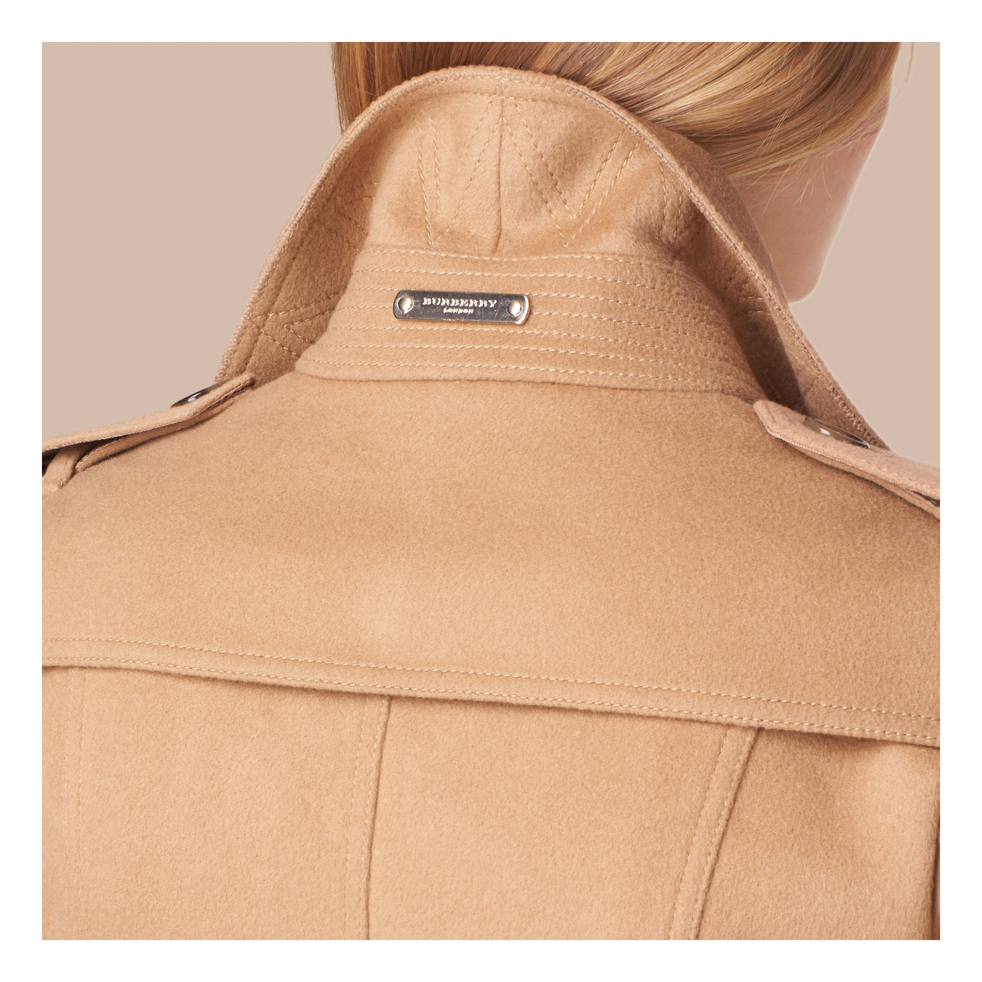 Camel Wool Cashmere Jacket with Detachable Rabbit Fur Collar - gallery image 5