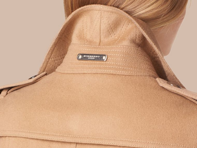 Camel Wool Cashmere Jacket with Detachable Rabbit Fur Collar - cell image 4