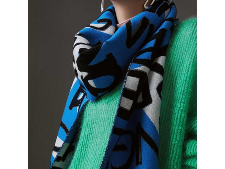 Graffiti Cotton Jacquard Scarf in Bright Sky Blue | Burberry - cell image 4