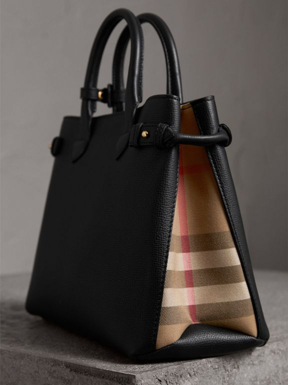The Medium Banner in Leather and House Check in Black - Women | Burberry - cell image 1
