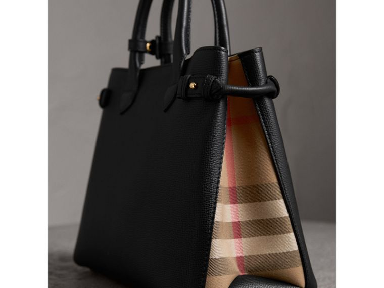 The Medium Banner in Leather and House Check in Black - Women | Burberry United States - cell image 1