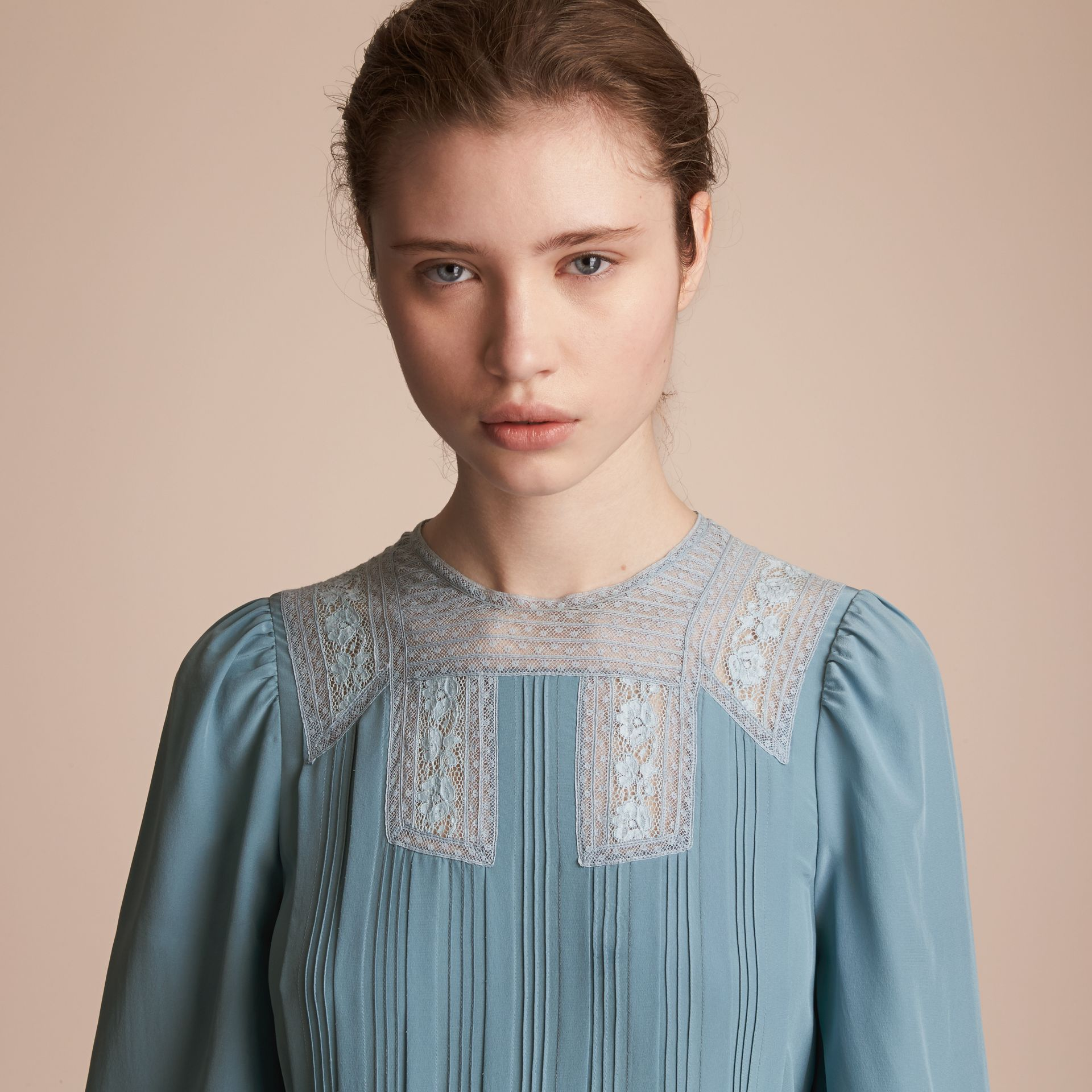 Lace and Pintuck Detail Silk Dress in Bright Mineral Blue - Women | Burberry - gallery image 4