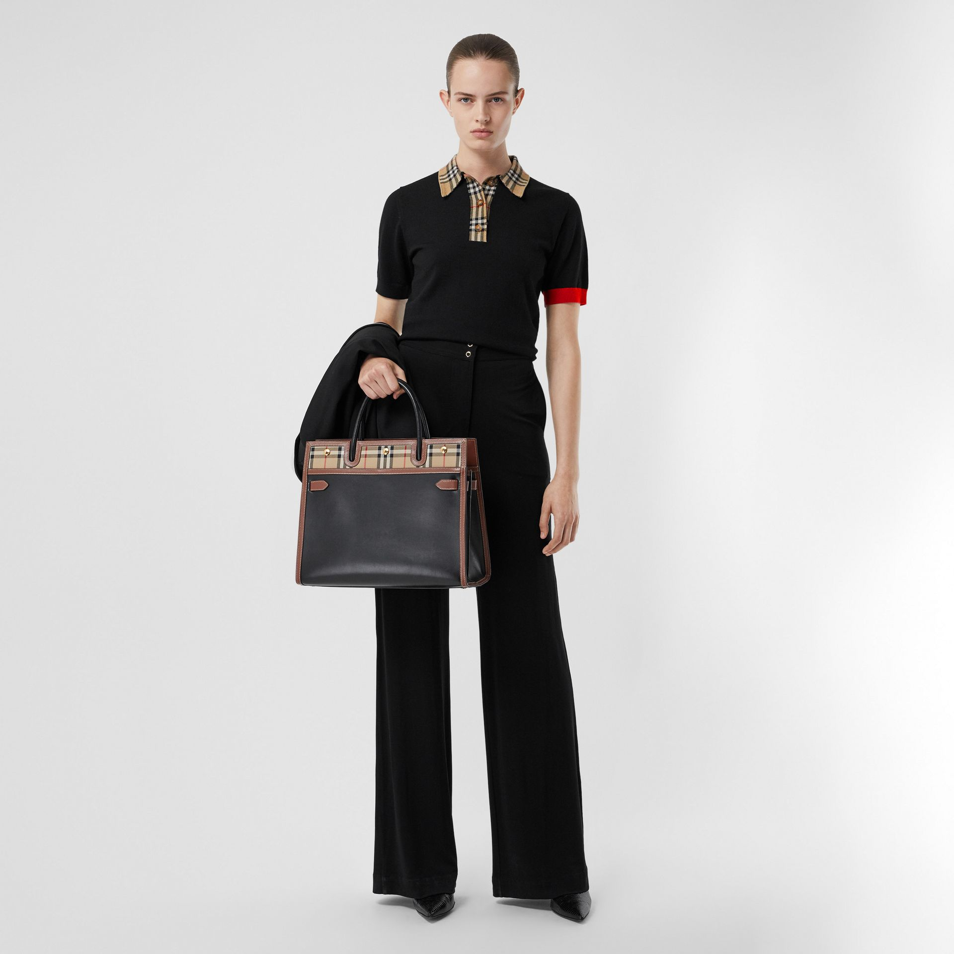 Vintage Check Trim Merino Wool Polo Shirt in Black - Women | Burberry - gallery image 0