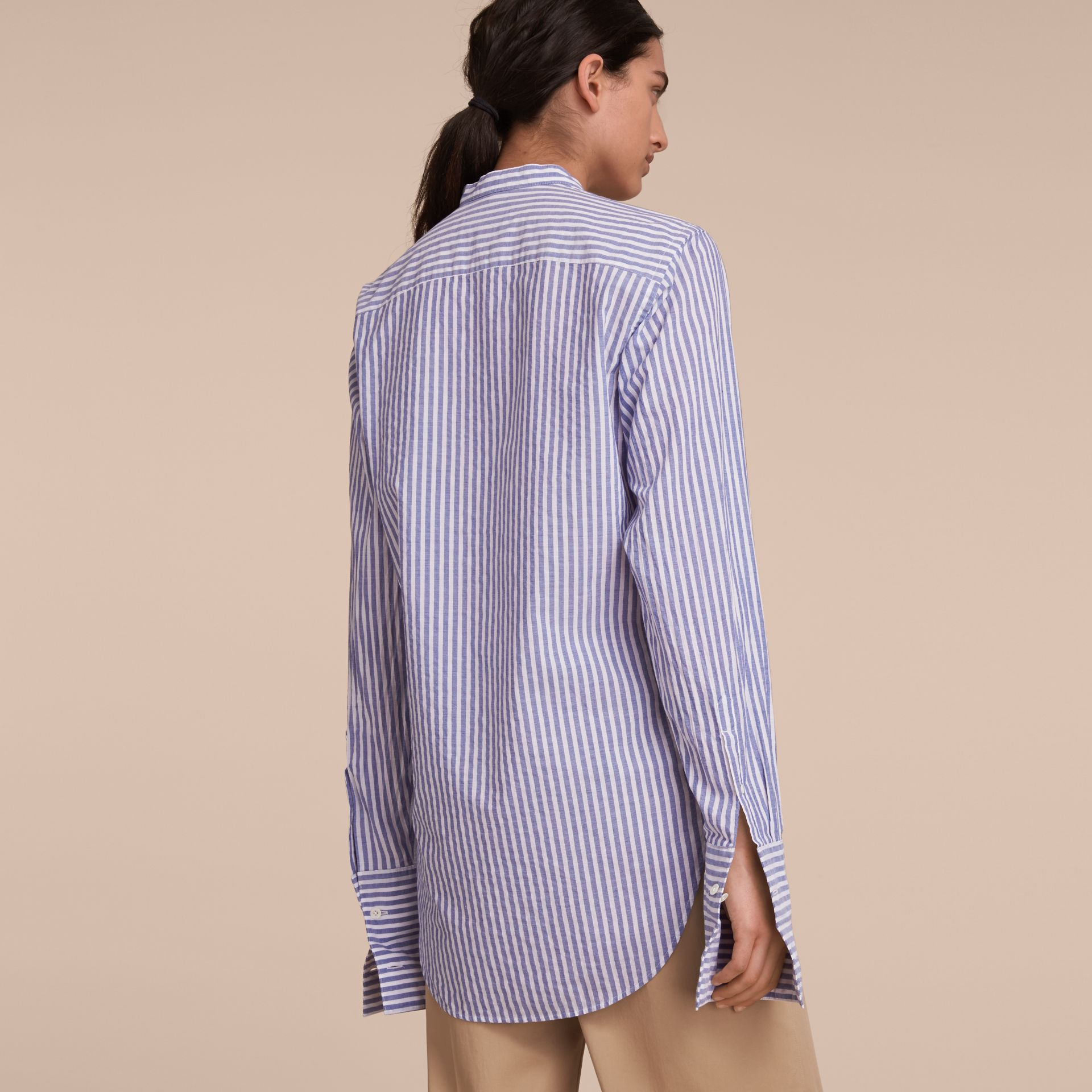 Unisex Grandad Collar Pleated Bib Striped Cotton Shirt in Pale Blue/white - Women | Burberry - gallery image 5