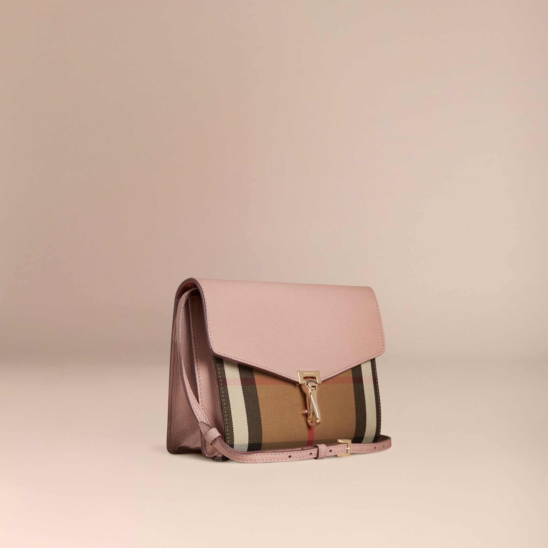 Small Leather and House Check Crossbody Bag in Pale Orchid - gallery image 6