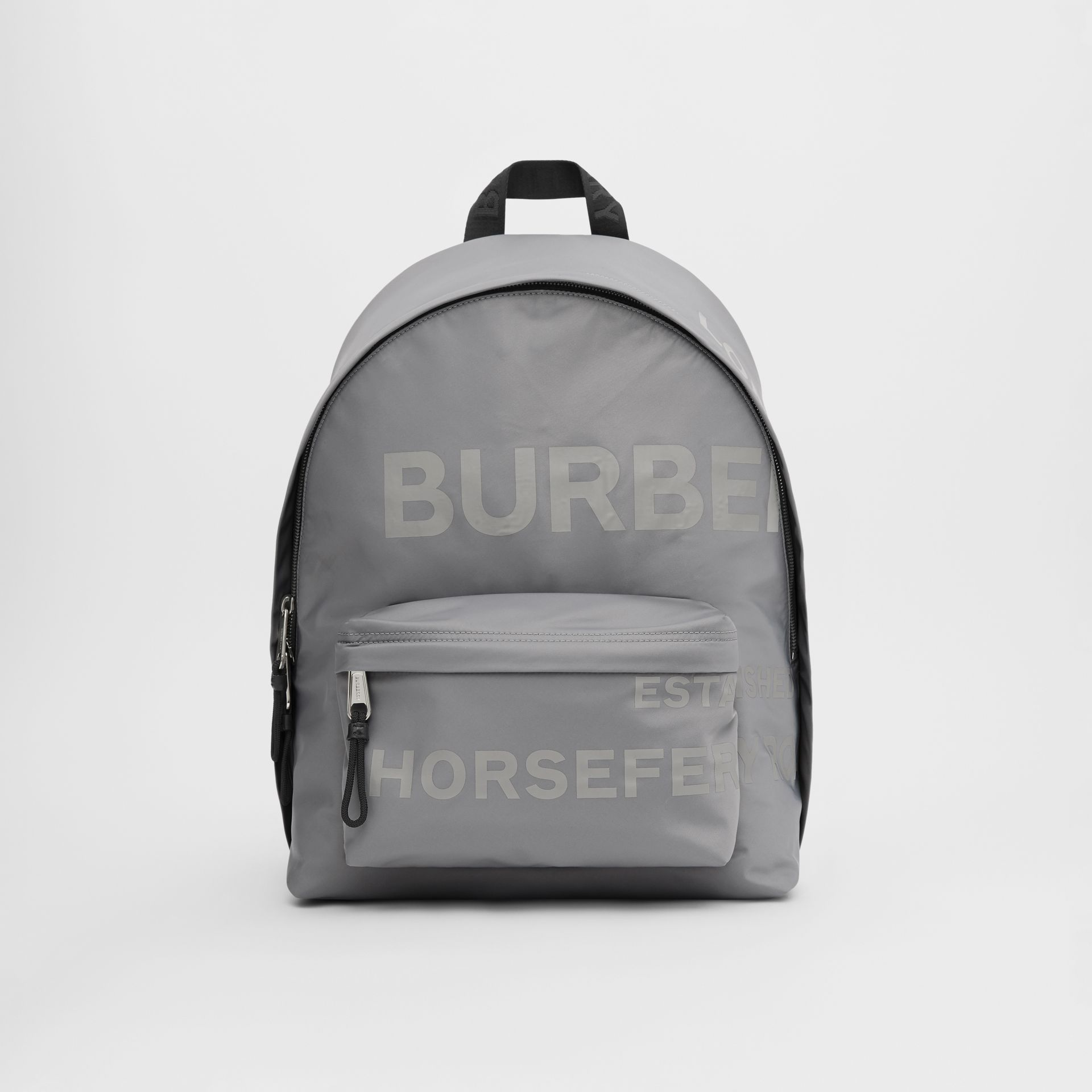 Horseferry Print ECONYL® Backpack in Cloud Grey | Burberry - gallery image 0