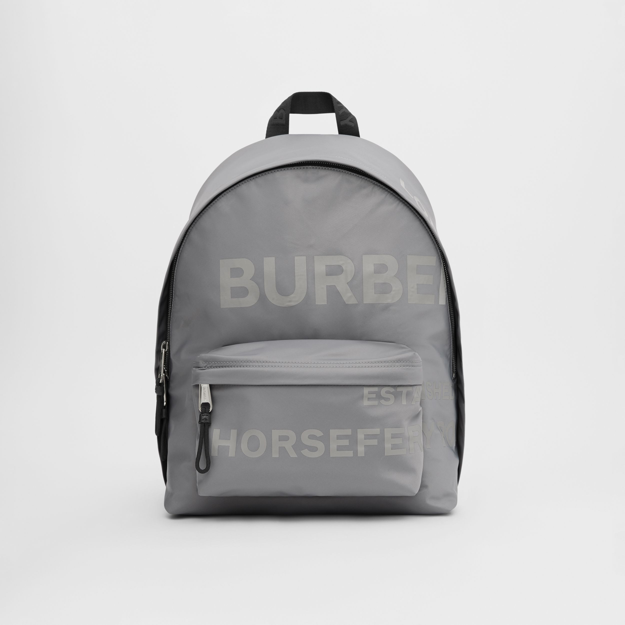 Horseferry Print ECONYL® Backpack in Cloud Grey | Burberry Hong Kong S.A.R. - 1