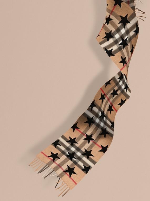 Sciarpa classica mini in cashmere con motivo tartan e stampa a stelle Nero