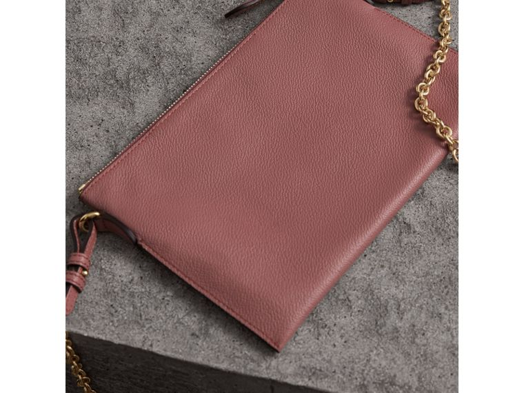 Leather Clutch Bag with Check Lining in Dusty Pink - Women | Burberry - cell image 4