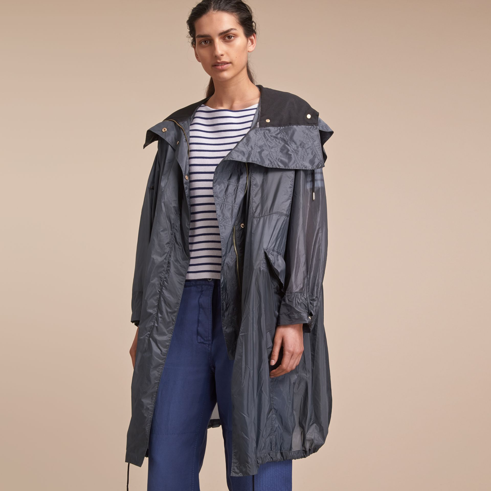 Hooded Lightweight Oversize Parka in Airforce Blue - Women | Burberry - gallery image 6
