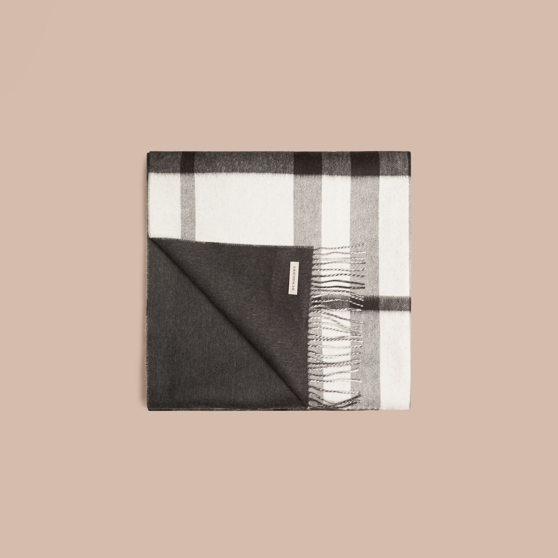Black/white Check Merino Wool Cashmere Blanket - gallery image 4