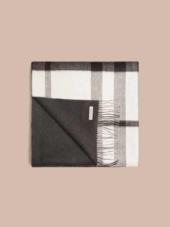 Black/white Check Merino Wool Cashmere Blanket - cell image 3