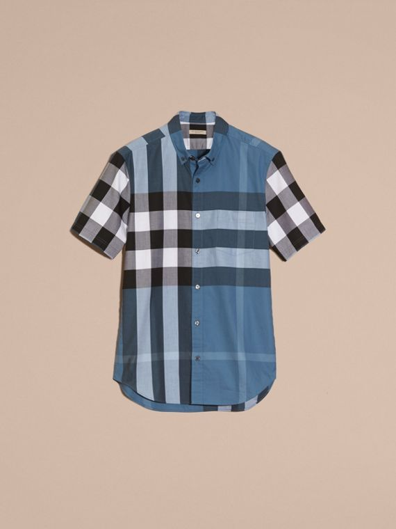 Lupin blue Short-sleeved Check Cotton Shirt Lupin Blue - cell image 3