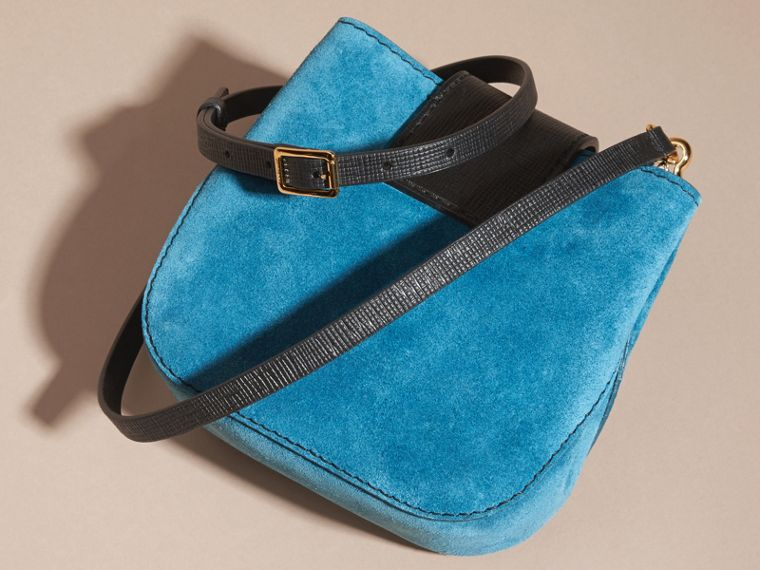 Peacock blue The Small Square Buckle Bag in Suede and Leather Peacock Blue - cell image 4