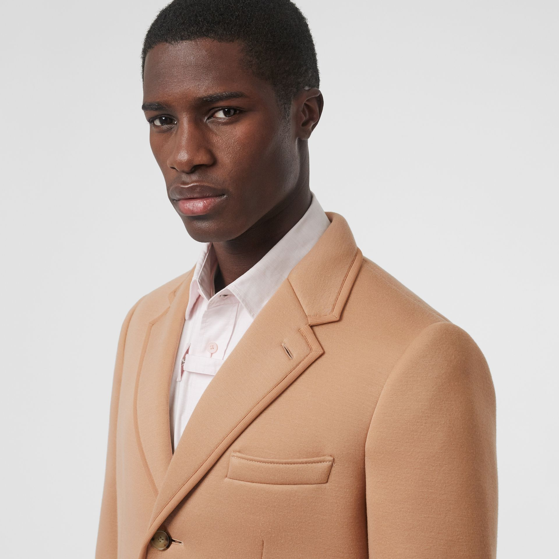 Neoprene Tailored Coat in Beige | Burberry Singapore - gallery image 7