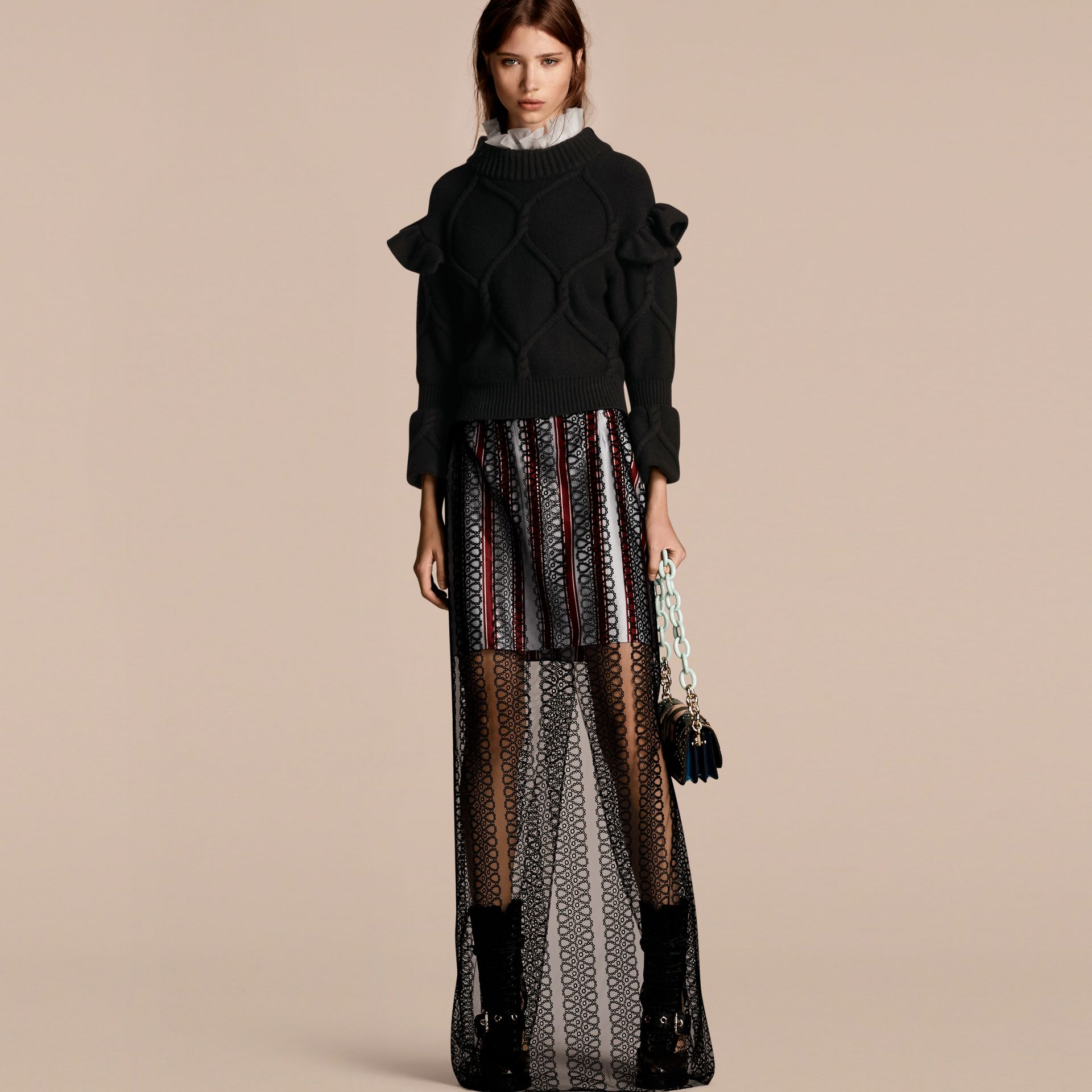 Cable Knit Wool Cashmere Sweater with Ruffle Bell Sleeves in Black - gallery image 1