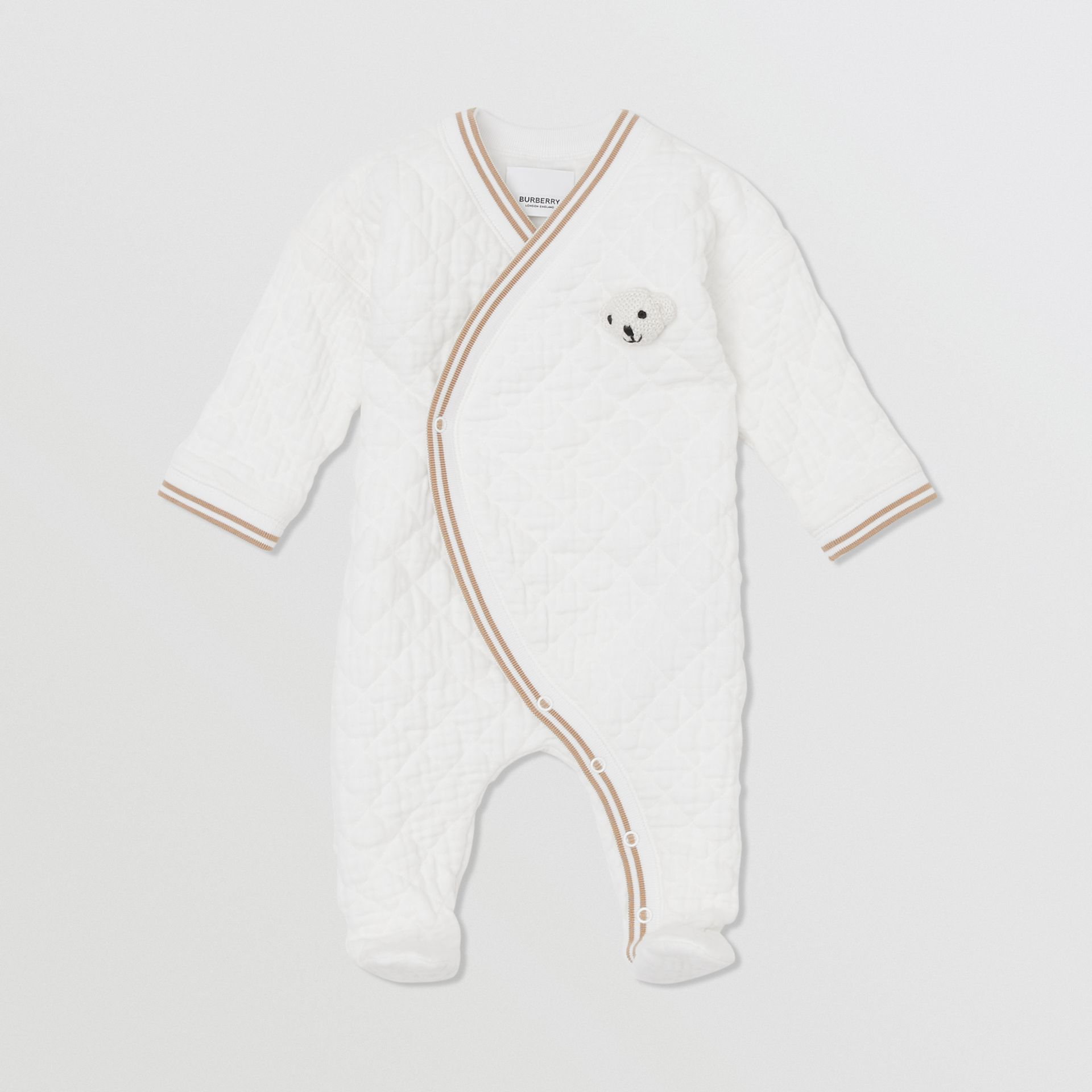 Thomas Bear Detail Quilted Cotton All-in-One in White - Children | Burberry - gallery image 0